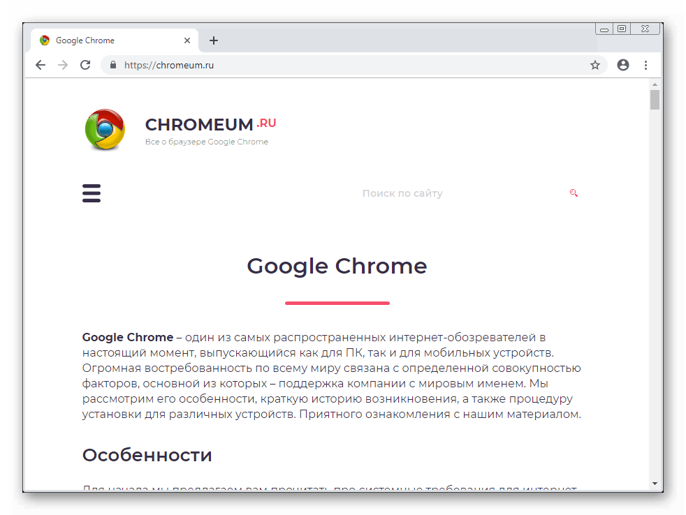 Общий вид браузера Google Chrome для Windows 7