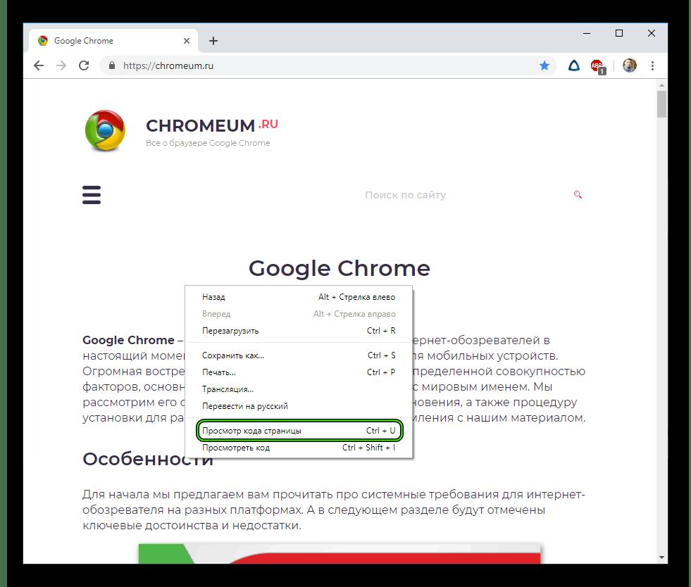Пункт Просмотр кода страницы в Google Chrome