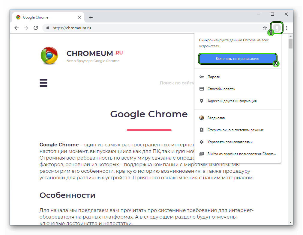 Пункт Включить синхронизация для браузера Google Chrome