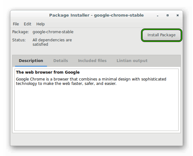 Запуск установки Google Chrome для Linux Debian через GDeby Package Installer