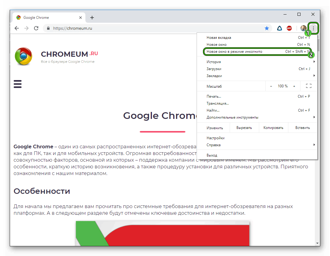 Пункт Новое окно в режиме инкогнито в основном меню браузера Google Chrome