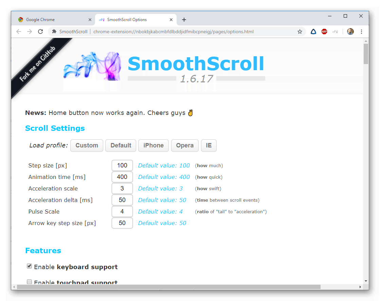 Настройка плагина SmoothScroll в Google Chrome