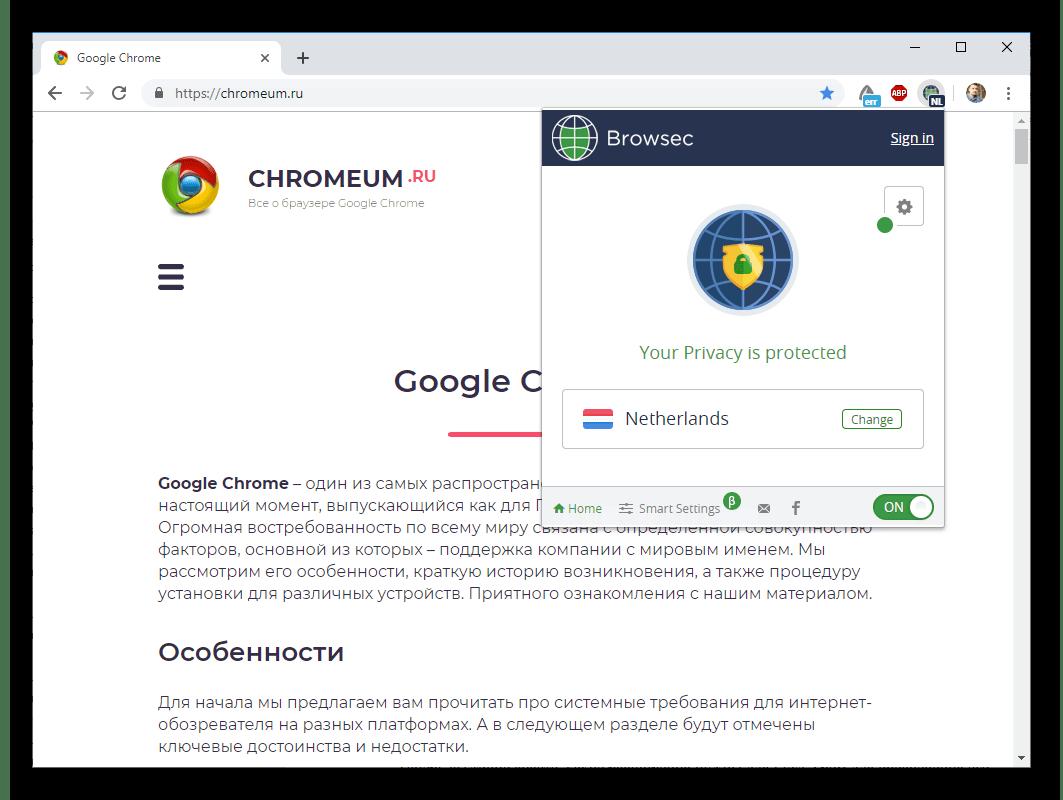 Общий вид Browsec VPN