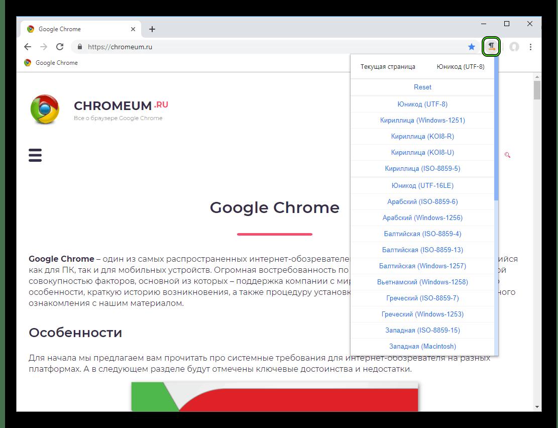 Настройка расширения Charset для Google Chrome