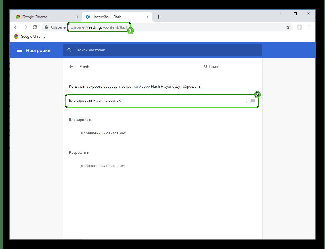 Пункт Блокировать Flash на сайтах в настройках Google Chrome