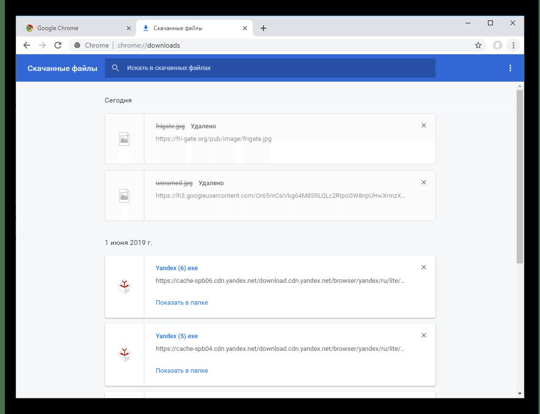Содержимое страницы chrome-downloads в браузере Google Chrome