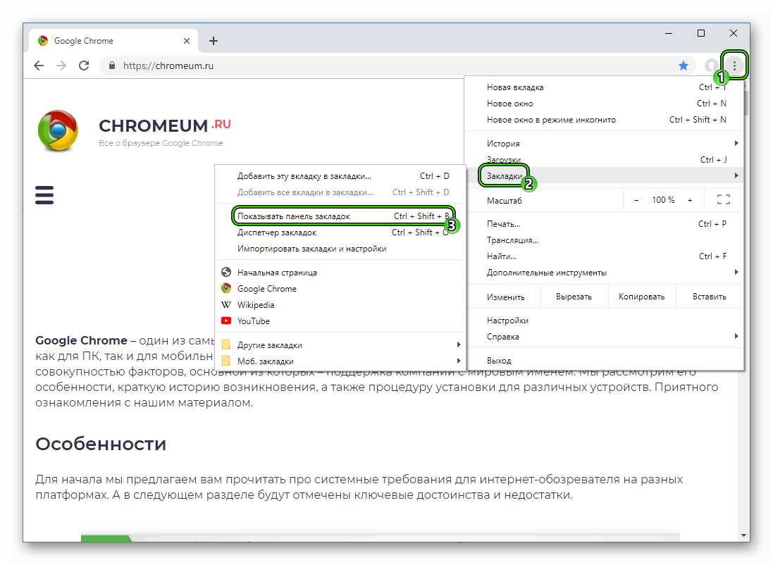 Чистая опция Показывать панель закладок в основном меню браузера Google Chrome