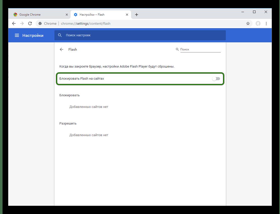 Опция Блокировать Flash на сайтах в настройках Chrome