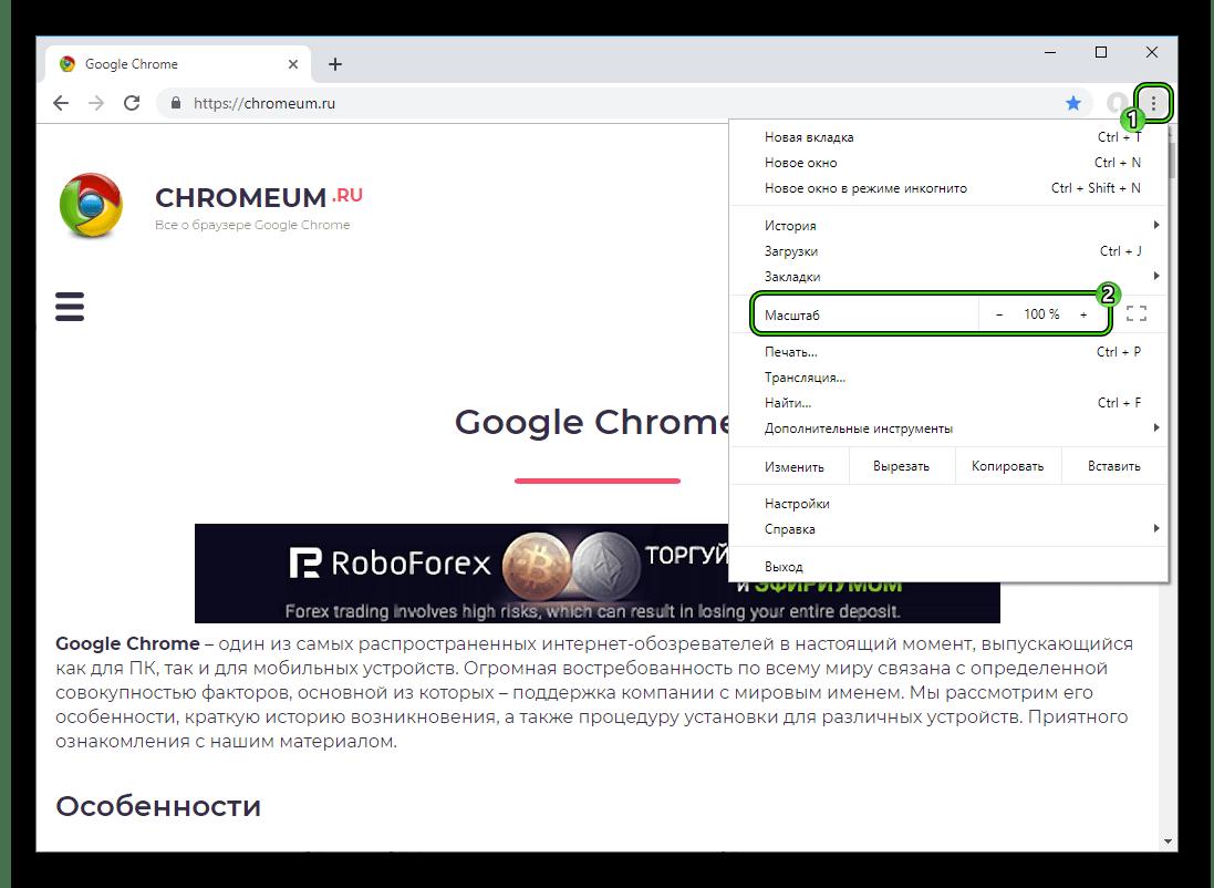 Пункт Масштаб в основном меню интернет-обозревателя Google Chrome