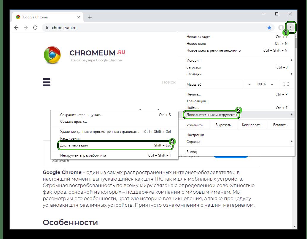 Пункт Диспетчер задач в главном меню обозревателя Chrome