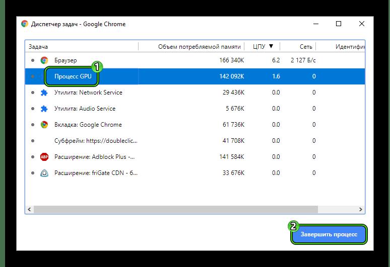 Завершить процесс GPU в Диспетчере задач Google Chrome