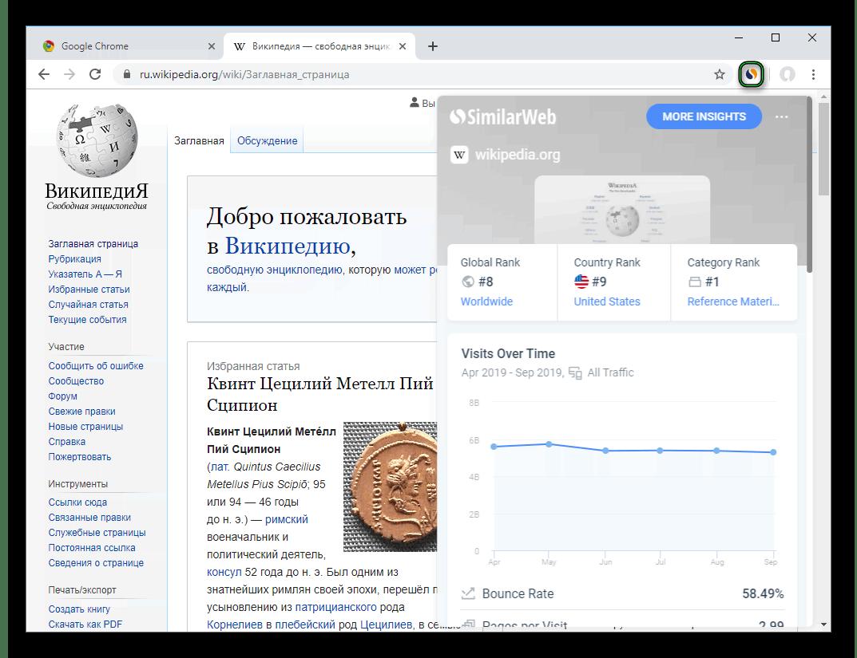 Запуск расширения SimilarWeb для Google Chrome