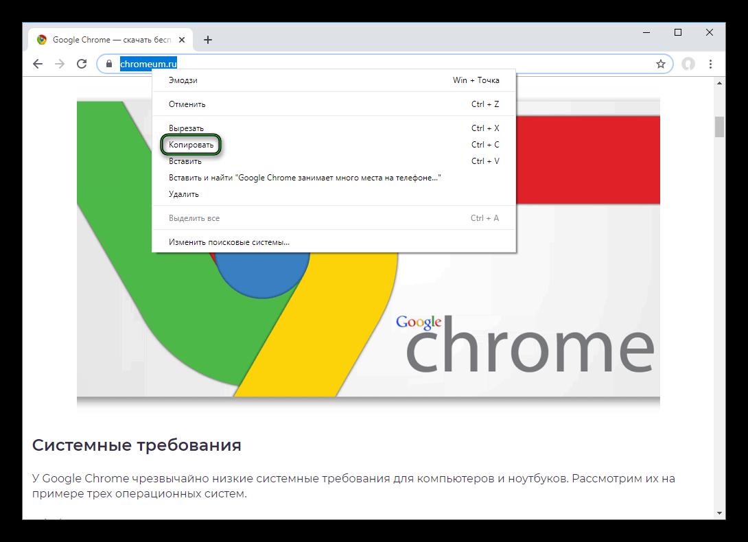 Копировать ссылку из адресной строки Chrome