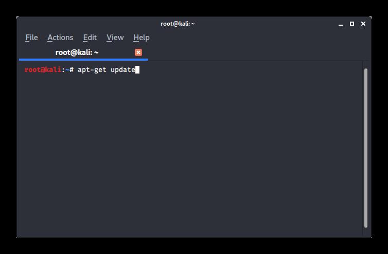 Обновление пакетов в терминале Kali Linux