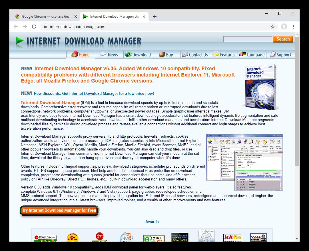 Скачать Internet Download Manager с официального сайта