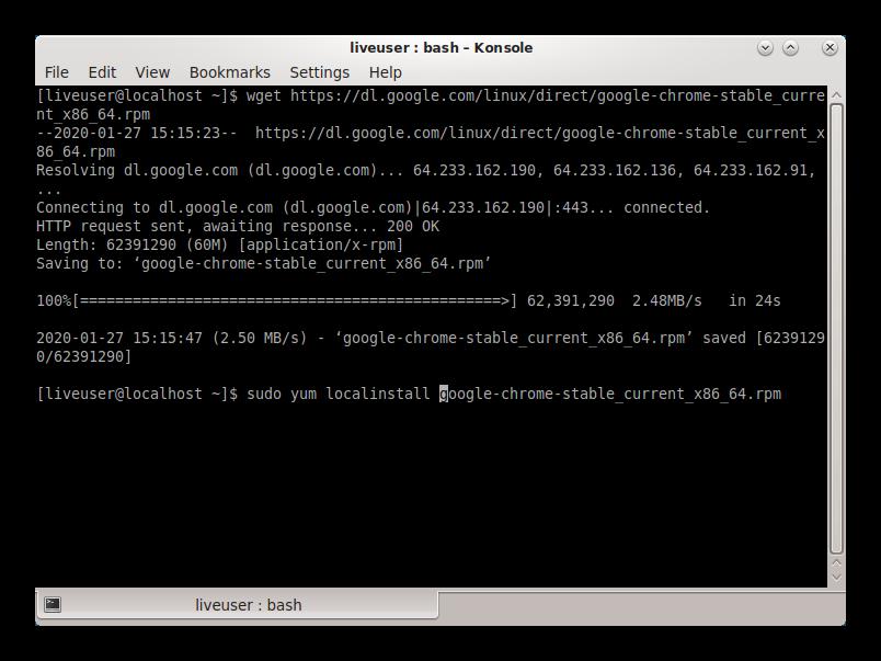 Установка дистрибутива Google Chrome для Linux CentOS