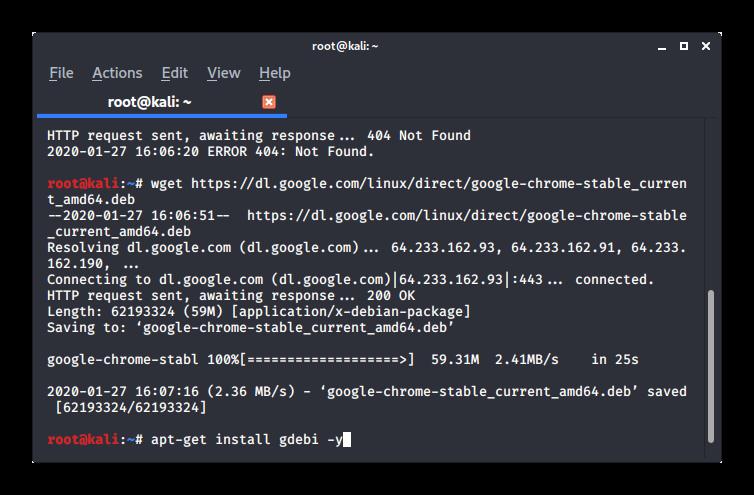 Установка gdebi в терминале Kali Linux